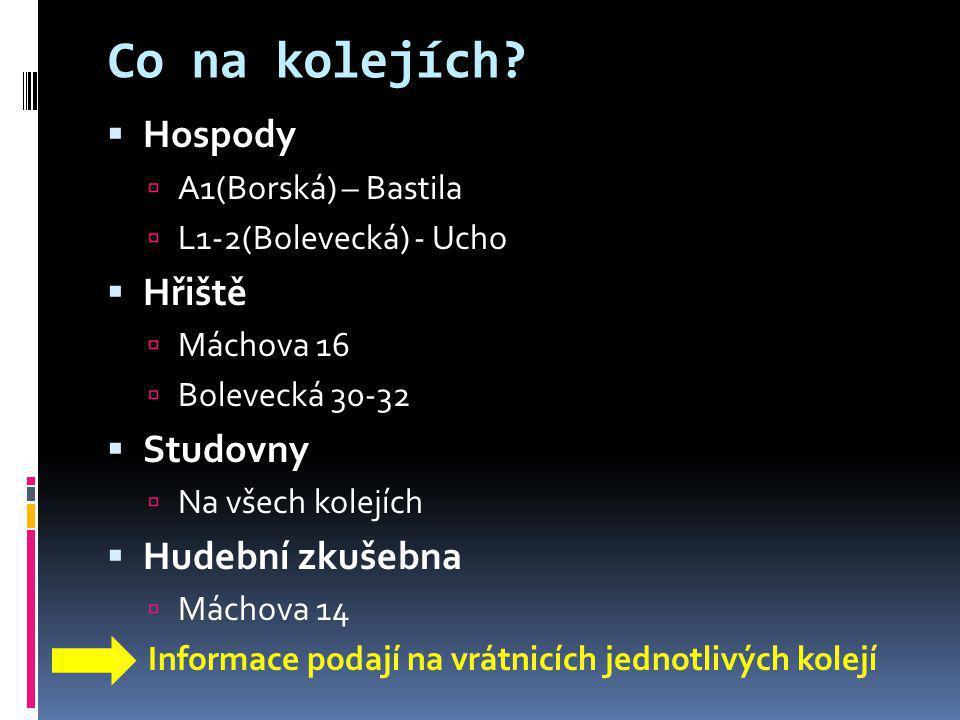 Co na kolejích?  Hospody  A1(Borská) – Bastila  L1-2(Bolevecká) - Ucho  Hřiště  Máchova 16  Bolevecká 30-32  Studovny  Na všech kolejích  Hud