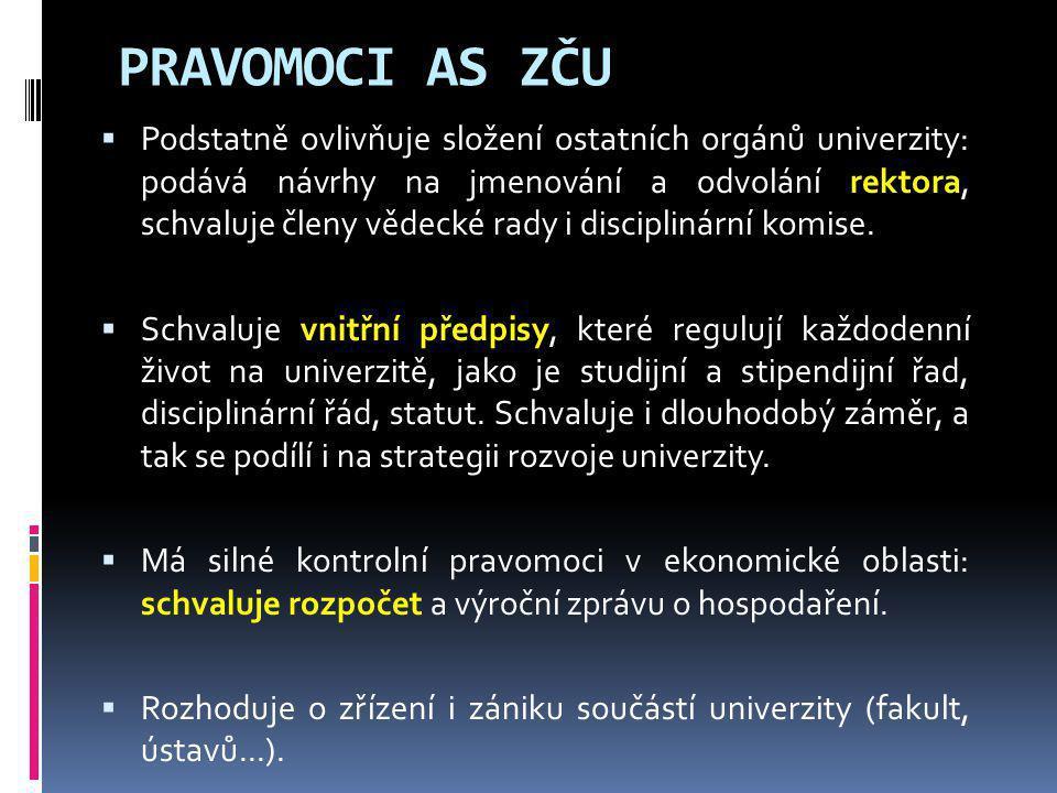 PRAVOMOCI AS ZČU  Podstatně ovlivňuje složení ostatních orgánů univerzity: podává návrhy na jmenování a odvolání rektora, schvaluje členy vědecké rad