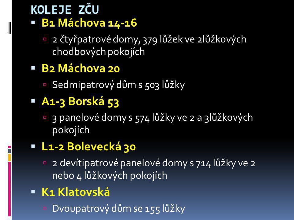 KOLEJE ZČU  B1 Máchova 14-16  2 čtyřpatrové domy, 379 lůžek ve 2lůžkových chodbových pokojích  B2 Máchova 20  Sedmipatrový dům s 503 lůžky  A1-3