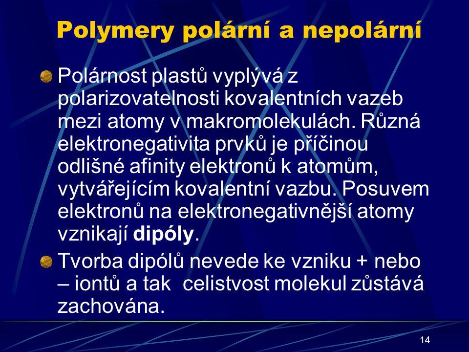 14 Polymery polární a nepolární Polárnost plastů vyplývá z polarizovatelnosti kovalentních vazeb mezi atomy v makromolekulách. Různá elektronegativita