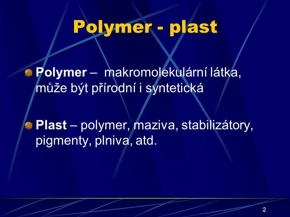 2 Polymer - plast Polymer – makromolekulární látka, může být přírodní i syntetická Plast – polymer, maziva, stabilizátory, pigmenty, plniva, atd.