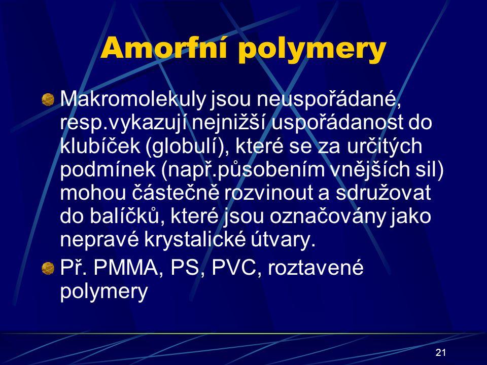 21 Amorfní polymery Makromolekuly jsou neuspořádané, resp.vykazují nejnižší uspořádanost do klubíček (globulí), které se za určitých podmínek (např.pů
