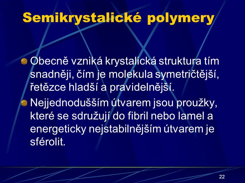 22 Semikrystalické polymery Obecně vzniká krystalická struktura tím snadněji, čím je molekula symetričtější, řetězce hladší a pravidelnější. Nejjednod