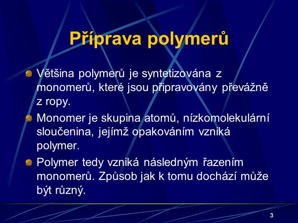 14 Polymery polární a nepolární Polárnost plastů vyplývá z polarizovatelnosti kovalentních vazeb mezi atomy v makromolekulách.