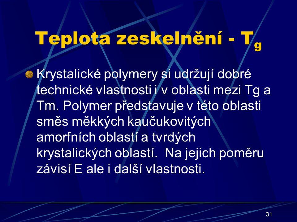 31 Teplota zeskelnění - T g Krystalické polymery si udržují dobré technické vlastnosti i v oblasti mezi Tg a Tm. Polymer představuje v této oblasti sm