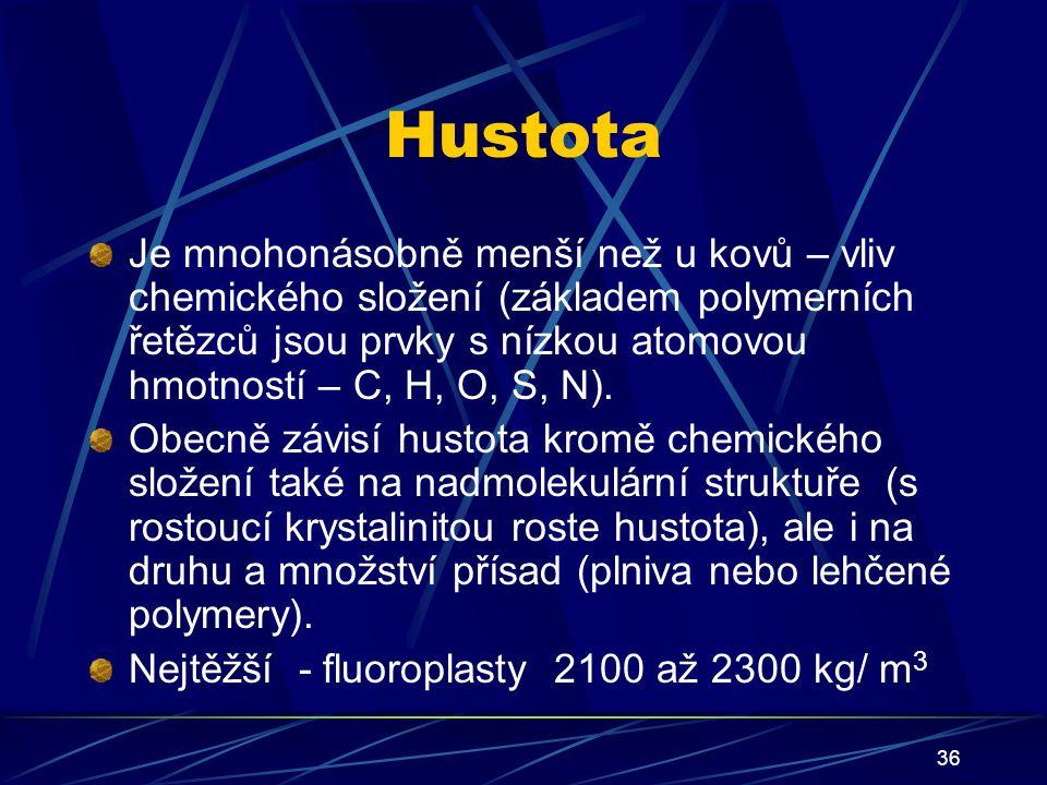 36 Hustota Je mnohonásobně menší než u kovů – vliv chemického složení (základem polymerních řetězců jsou prvky s nízkou atomovou hmotností – C, H, O,