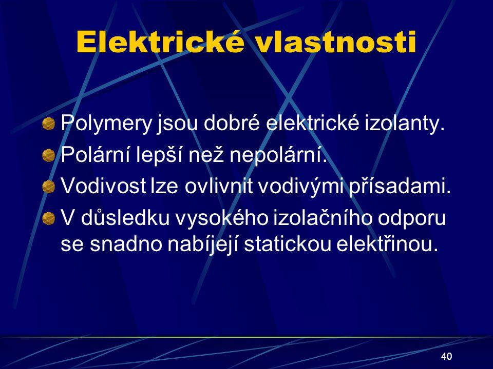 40 Elektrické vlastnosti Polymery jsou dobré elektrické izolanty. Polární lepší než nepolární. Vodivost lze ovlivnit vodivými přísadami. V důsledku vy
