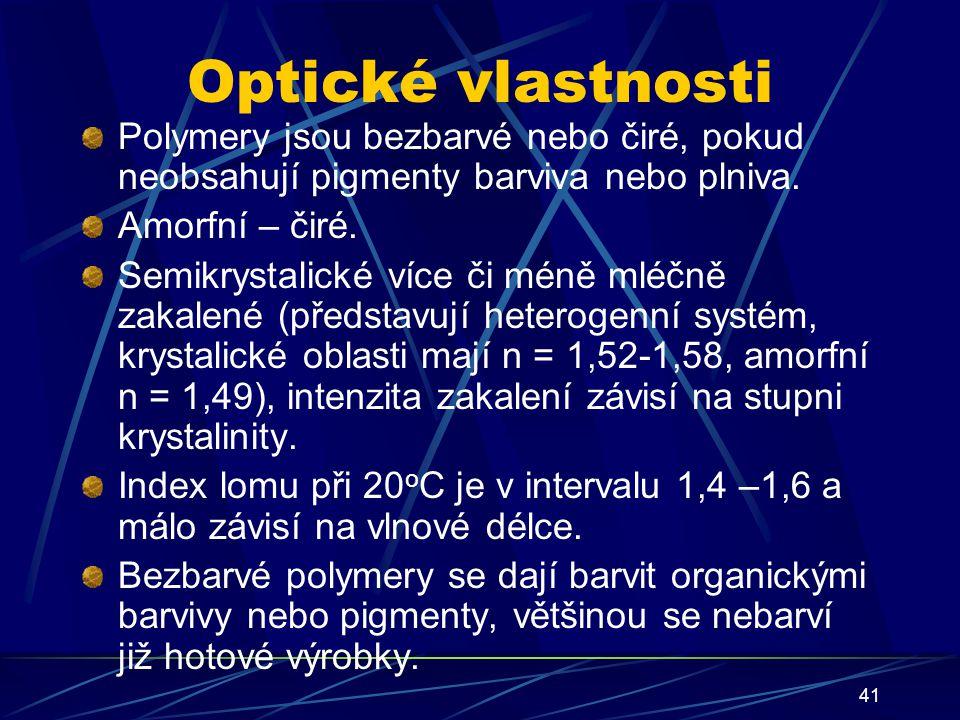 41 Optické vlastnosti Polymery jsou bezbarvé nebo čiré, pokud neobsahují pigmenty barviva nebo plniva. Amorfní – čiré. Semikrystalické více či méně ml