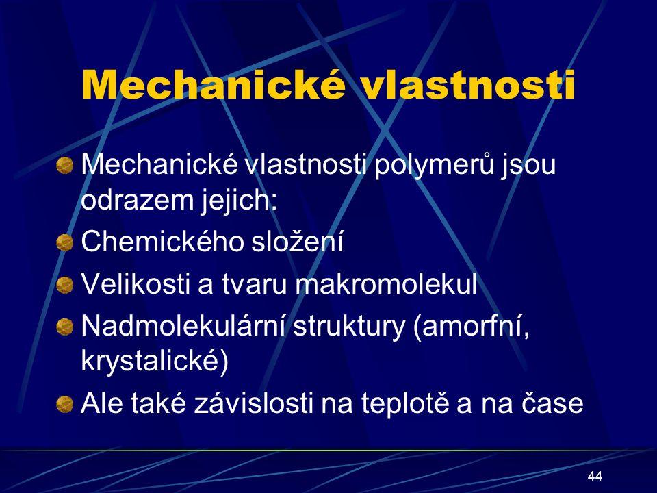44 Mechanické vlastnosti Mechanické vlastnosti polymerů jsou odrazem jejich: Chemického složení Velikosti a tvaru makromolekul Nadmolekulární struktur