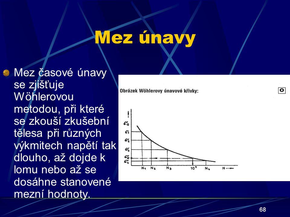 68 Mez únavy Mez časové únavy se zjišťuje Wöhlerovou metodou, při které se zkouší zkušební tělesa při různých výkmitech napětí tak dlouho, až dojde k