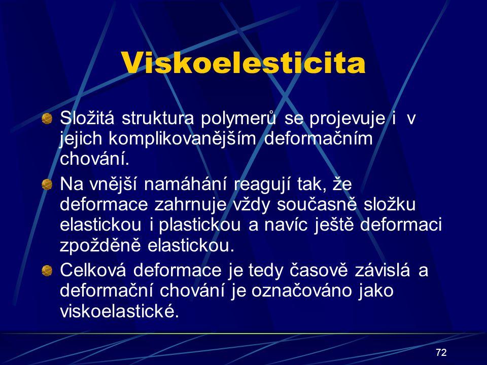 72 Viskoelesticita Složitá struktura polymerů se projevuje i v jejich komplikovanějším deformačním chování. Na vnější namáhání reagují tak, že deforma