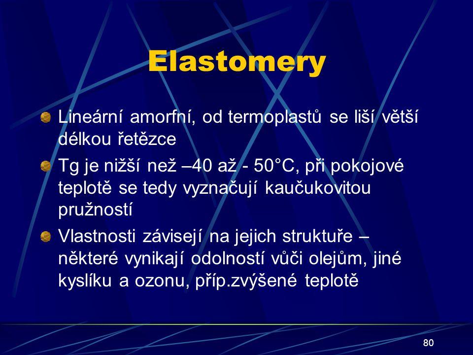 80 Elastomery Lineární amorfní, od termoplastů se liší větší délkou řetězce Tg je nižší než –40 až - 50°C, při pokojové teplotě se tedy vyznačují kauč