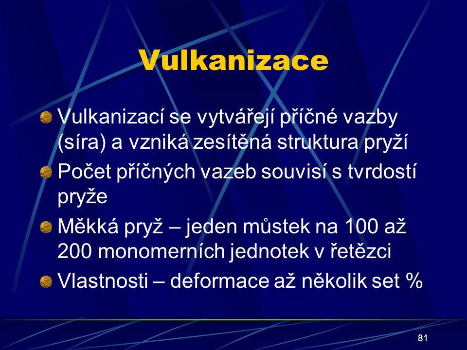 81 Vulkanizace Vulkanizací se vytvářejí příčné vazby (síra) a vzniká zesítěná struktura pryží Počet příčných vazeb souvisí s tvrdostí pryže Měkká pryž