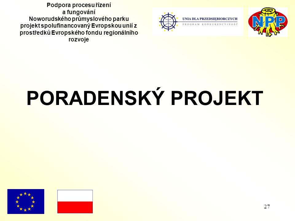 27 Podpora procesu řízení a fungování Noworudského průmyslového parku projekt spolufinancovaný Evropskou unií z prostředků Evropského fondu regionálního rozvoje PORADENSKÝ PROJEKT