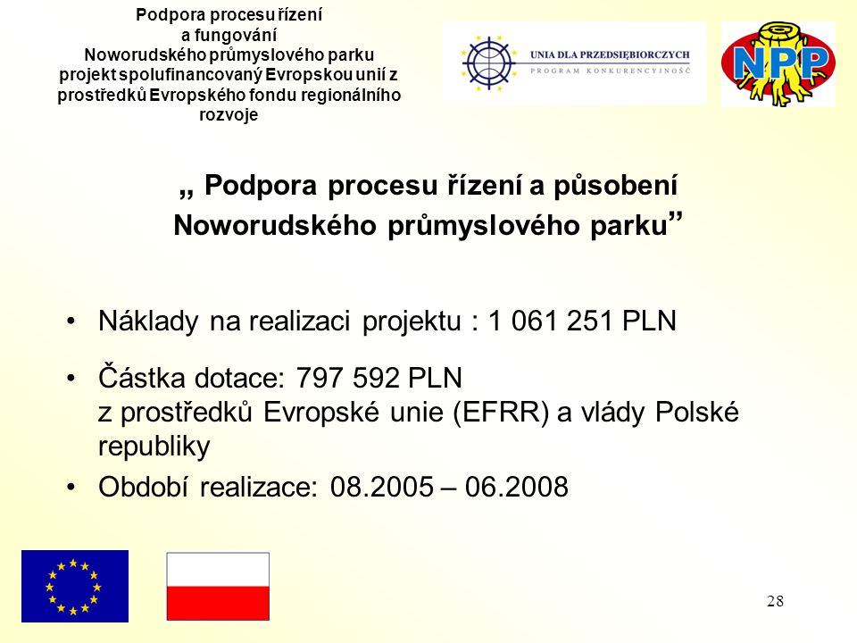 """28 Podpora procesu řízení a fungování Noworudského průmyslového parku projekt spolufinancovaný Evropskou unií z prostředků Evropského fondu regionálního rozvoje """" Podpora procesu řízení a působení Noworudského průmyslového parku Náklady na realizaci projektu : 1 061 251 PLN Částka dotace: 797 592 PLN z prostředků Evropské unie (EFRR) a vlády Polské republiky Období realizace: 08.2005 – 06.2008"""