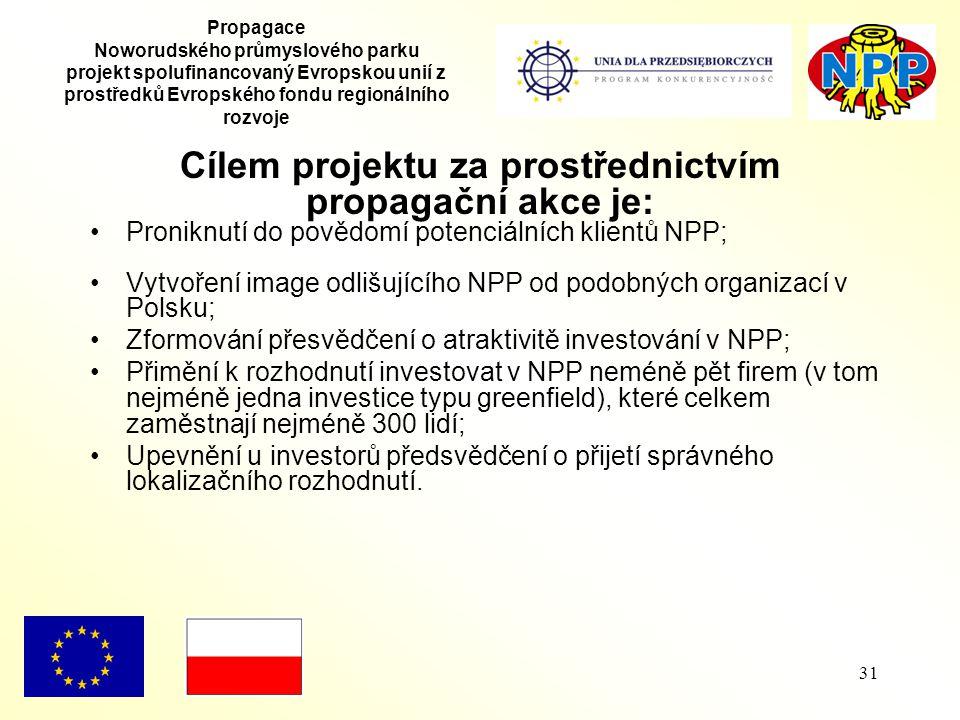 31 Propagace Noworudského průmyslového parku projekt spolufinancovaný Evropskou unií z prostředků Evropského fondu regionálního rozvoje Cílem projektu za prostřednictvím propagační akce je: Proniknutí do povědomí potenciálních klientů NPP; Vytvoření image odlišujícího NPP od podobných organizací v Polsku; Zformování přesvědčení o atraktivitě investování v NPP; Přimění k rozhodnutí investovat v NPP neméně pět firem (v tom nejméně jedna investice typu greenfield), které celkem zaměstnají nejméně 300 lidí; Upevnění u investorů předsvědčení o přijetí správného lokalizačního rozhodnutí.