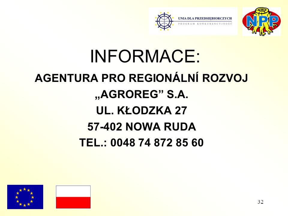 """32 AGENTURA PRO REGIONÁLNÍ ROZVOJ """"AGROREG S.A. UL."""