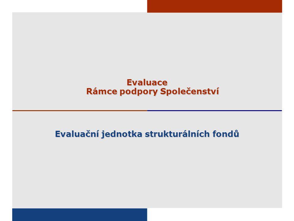 Evaluace Rámce podpory Společenství Evaluační jednotka strukturálních fondů