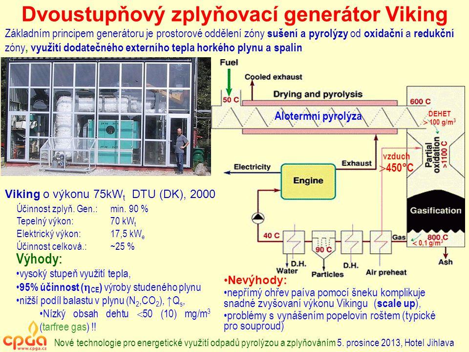 Dvoustupňový zplyňovací generátor Viking Základním principem generátoru je prostorové oddělení zóny sušení a pyrolýzy od oxidační a redukční zóny, využití dodatečného externího tepla horkého plynu a spalin DEHET  100 g/m 3  0,1 g/m 3 Alotermní pyrolýza vzduch  450°C Nové technologie pro energetické využití odpadů pyrolýzou a zplyňováním 5.