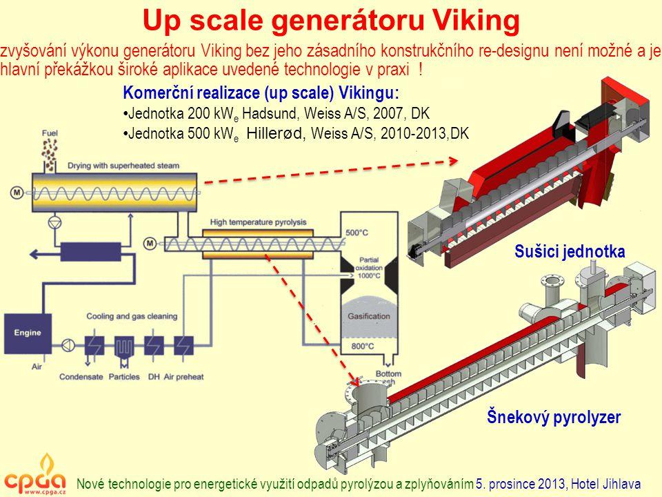 Up scale generátoru Viking Komerční realizace (up scale) Vikingu: Jednotka 200 kW e Hadsund, Weiss A/S, 2007, DK Jednotka 500 kW e Hillerød, Weiss A/S, 2010-2013,DK zvyšování výkonu generátoru Viking bez jeho zásadního konstrukčního re-designu není možné a je hlavní překážkou široké aplikace uvedené technologie v praxi .