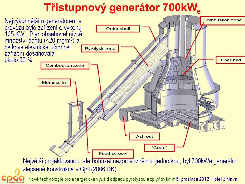 Třistupnový generátor 700kW e Nové technologie pro energetické využití odpadů pyrolýzou a zplyňováním 5. prosince 2013, Hotel Jihlava Nejvýkonnějším g