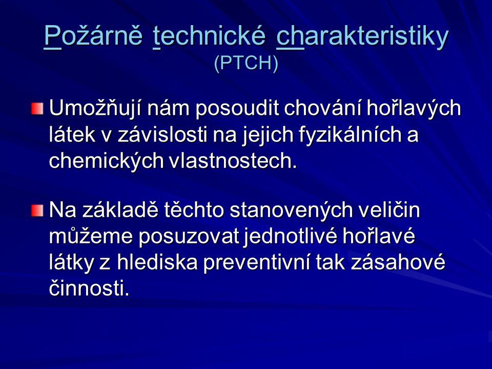 Požárně technické charakteristiky (PTCH) Umožňují nám posoudit chování hořlavých látek v závislosti na jejich fyzikálních a chemických vlastnostech. N