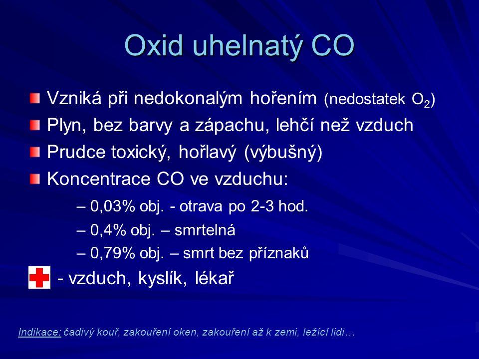 Oxid uhelnatý CO Vzniká při nedokonalým hořením (nedostatek O 2 ) Plyn, bez barvy a zápachu, lehčí než vzduch Prudce toxický, hořlavý (výbušný) Koncen