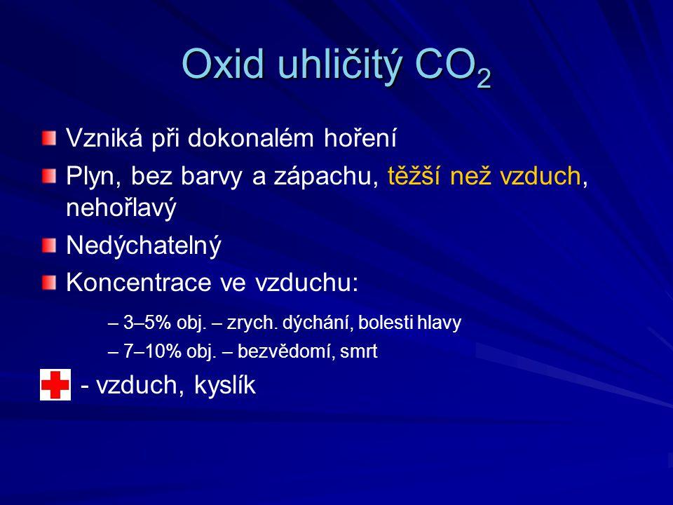 Oxid uhličitý CO 2 Vzniká při dokonalém hoření Plyn, bez barvy a zápachu, těžší než vzduch, nehořlavý Nedýchatelný Koncentrace ve vzduchu: – 3–5% obj.