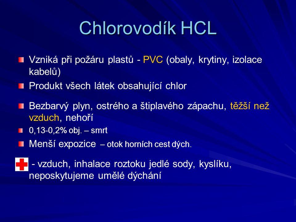 Chlorovodík HCL Vzniká při požáru plastů - PVC (obaly, krytiny, izolace kabelů) Produkt všech látek obsahující chlor Bezbarvý plyn, ostrého a štiplavé