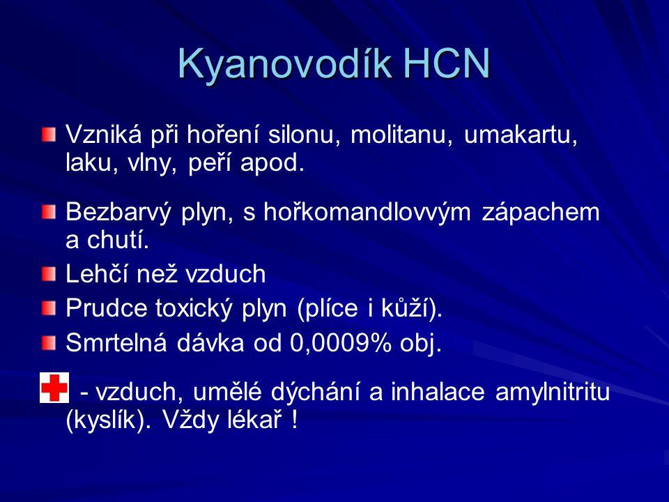Kyanovodík HCN Vzniká při hoření silonu, molitanu, umakartu, laku, vlny, peří apod. Bezbarvý plyn, s hořkomandlovvým zápachem a chutí. Lehčí než vzduc