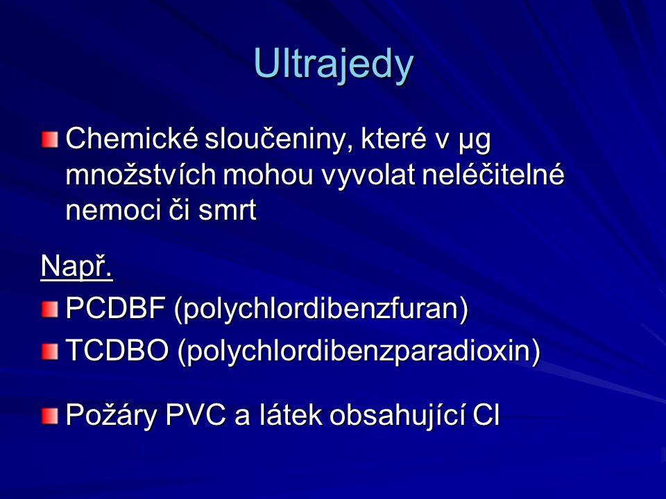Ultrajedy Chemické sloučeniny, které v μg množstvích mohou vyvolat neléčitelné nemoci či smrt Např. PCDBF (polychlordibenzfuran) TCDBO (polychlordiben