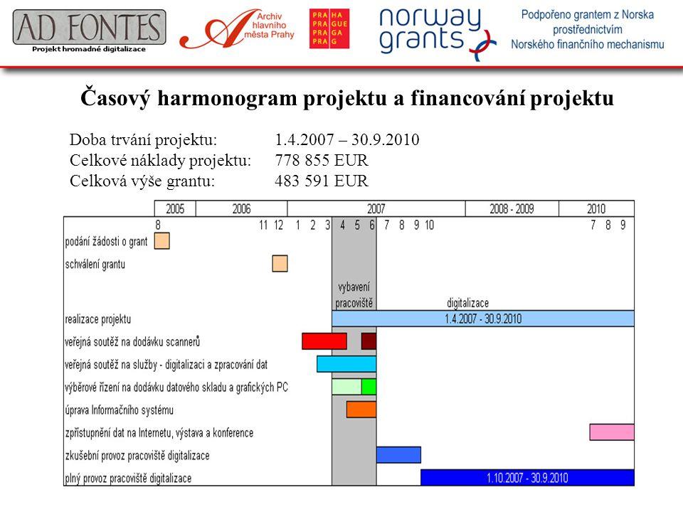 Časový harmonogram projektu a financování projektu Doba trvání projektu:1.4.2007 – 30.9.2010 Celkové náklady projektu:778 855 EUR Celková výše grantu: