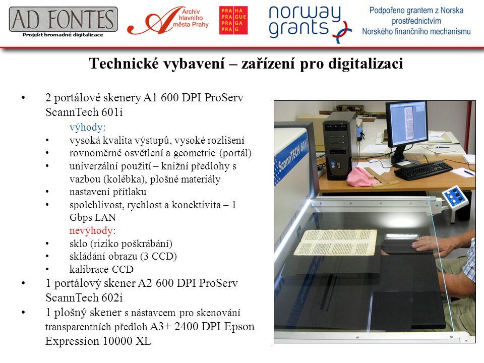Technické vybavení – zařízení pro digitalizaci 2 portálové skenery A1 600 DPI ProServ ScannTech 601i výhody: vysoká kvalita výstupů, vysoké rozlišení