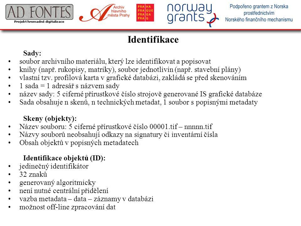 Identifikace Sady: soubor archivního materiálu, který lze identifikovat a popisovat knihy (např. rukopisy, matriky), soubor jednotlivin (např. stavebn