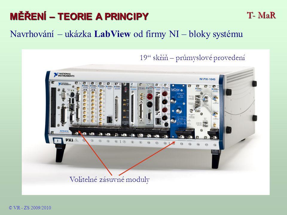 T- MaR MĚŘENÍ – TEORIE A PRINCIPY © VR - ZS 2009/2010 Volitelné zásuvné moduly 19 skříň – průmyslové provedení Navrhování – ukázka LabView od firmy NI – bloky systému