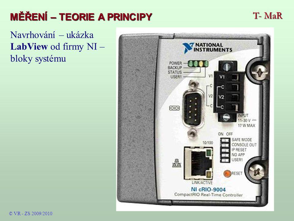 T- MaR MĚŘENÍ – TEORIE A PRINCIPY © VR - ZS 2009/2010 Navrhování – ukázka LabView od firmy NI – bloky systému
