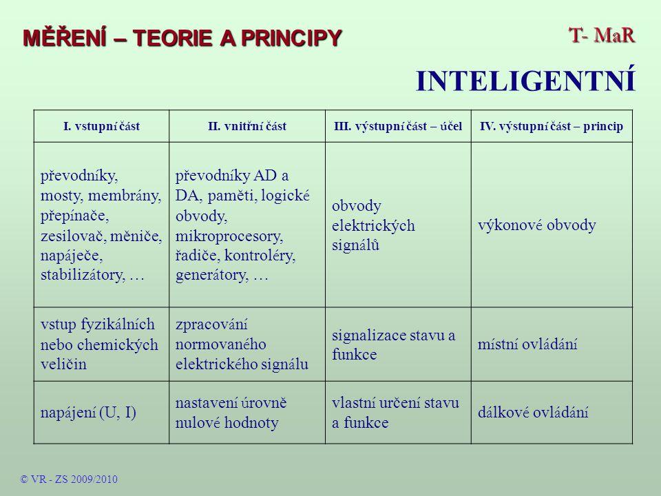 T- MaR MĚŘENÍ – TEORIE A PRINCIPY INTELIGENTNÍ © VR - ZS 2009/2010 I.