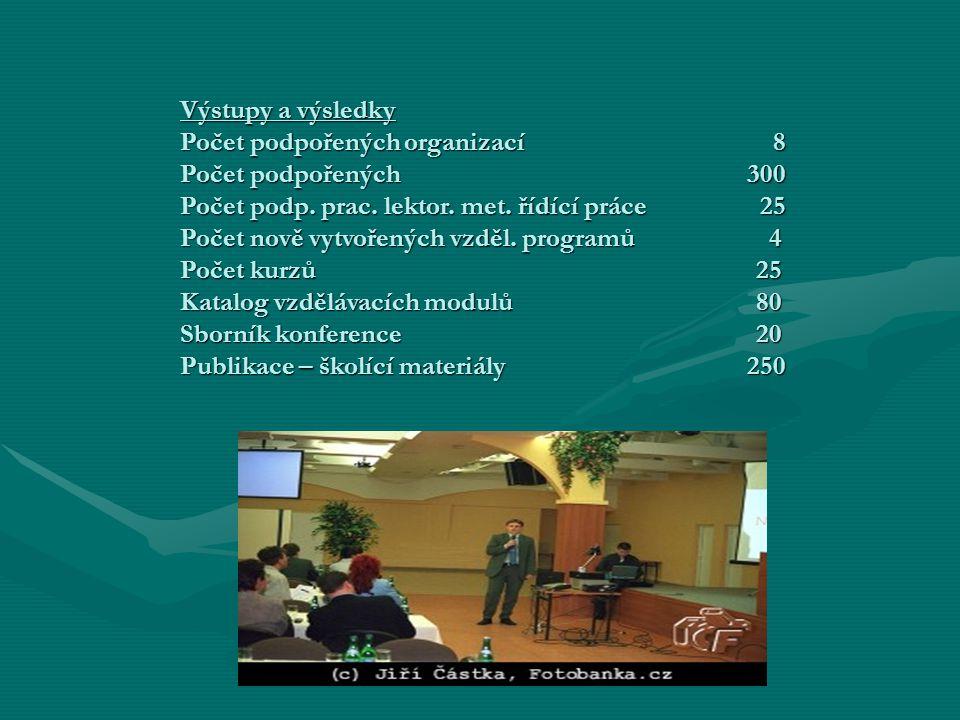 Výstupy a výsledky Počet podpořených organizací 8 Počet podpořených 300 Počet podp.