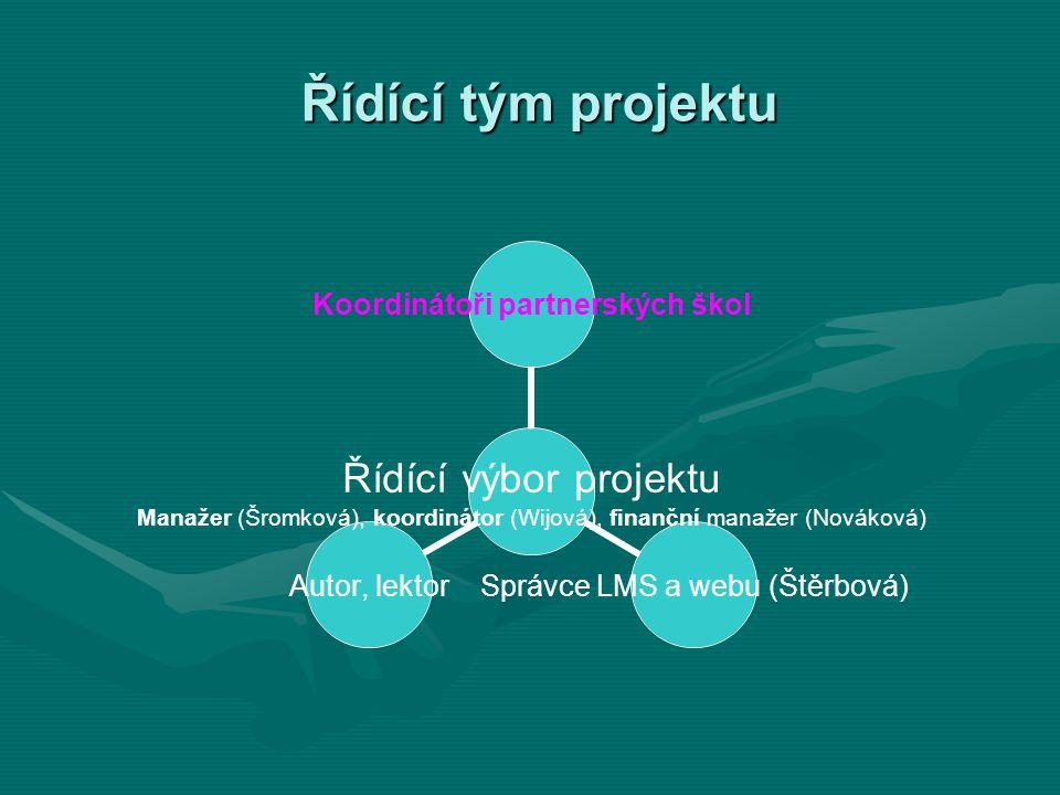Řídící tým projektu Řídící výbor projektu Manažer (Šromková), koordinátor (Wijová), finanční manažer (Nováková) Koordinátoři partnerských škol Správce LMS a webu (Štěrbová) Autor, lektor