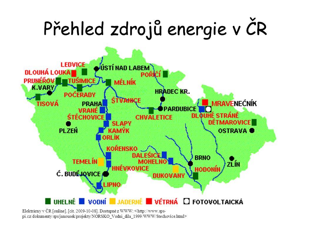 Přehled zdrojů energie v ČR Elektrárny v ČR [online]. [cit. 2009-10-08]. Dostupné z WWW: