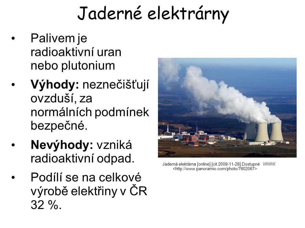 Jaderné elektrárny Jaderná elektárna [online].[cit.2009-11-28].Dostupné WWW: Palivem je radioaktivní uran nebo plutonium Výhody: neznečišťují ovzduší,