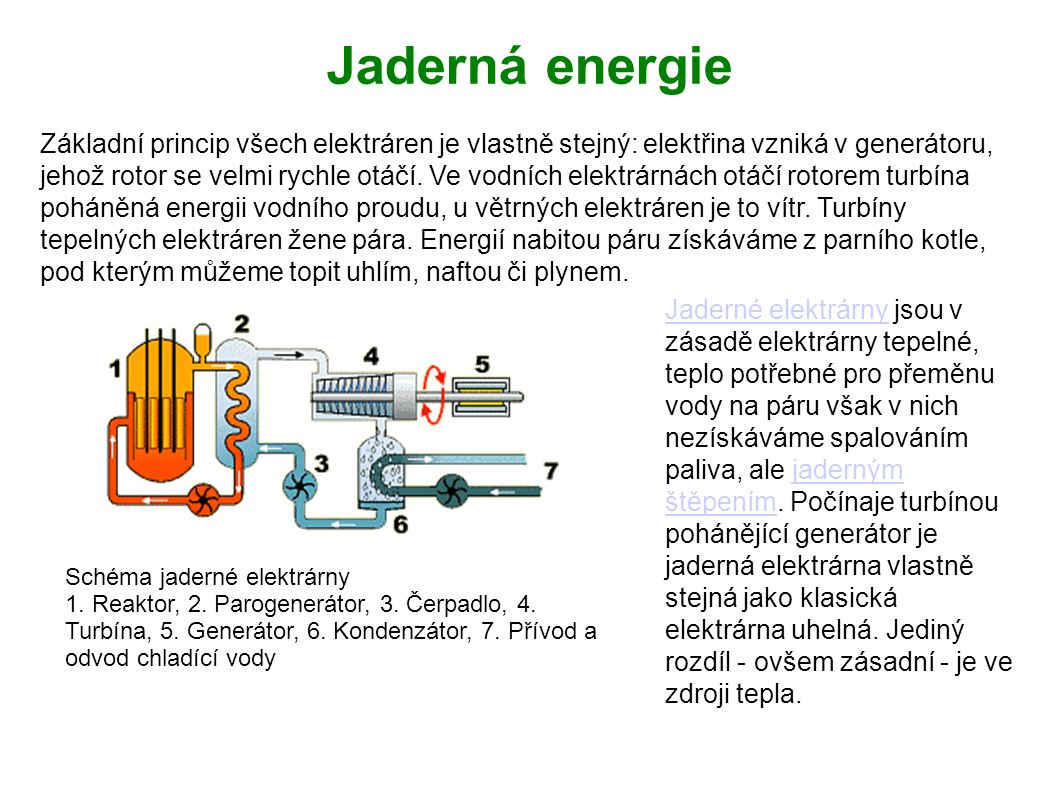 Jaderné elektrárnyJaderné elektrárny jsou v zásadě elektrárny tepelné, teplo potřebné pro přeměnu vody na páru však v nich nezískáváme spalováním pali