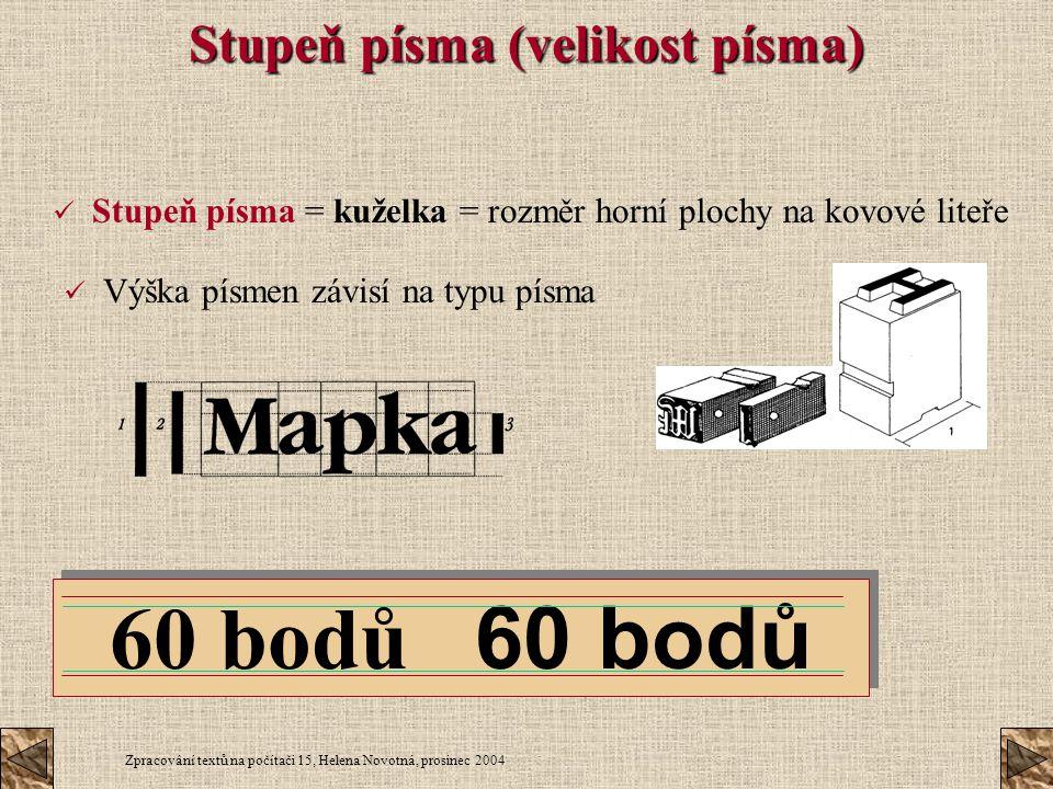 Zpracování textů na počítači 15, Helena Novotná, prosinec 2004 Stupeň písma (velikost písma) Stupeň písma = kuželka = rozměr horní plochy na kovové li