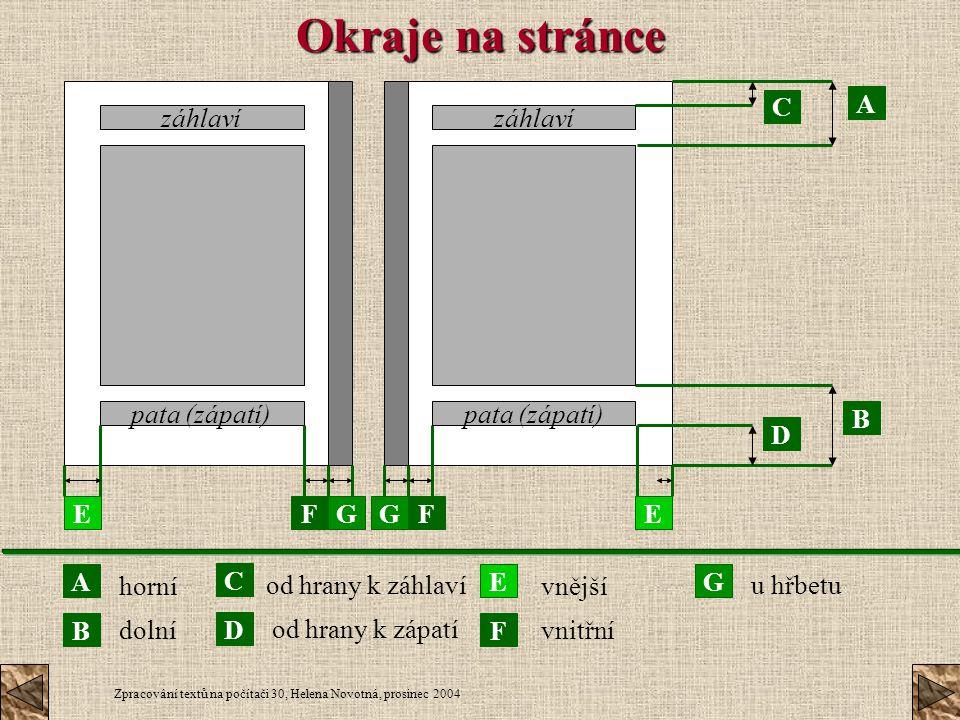Zpracování textů na počítači 30, Helena Novotná, prosinec 2004 Okraje na stránce záhlaví pata (zápatí) A FE D C B GFGE A B C D E F G horní dolní od hr