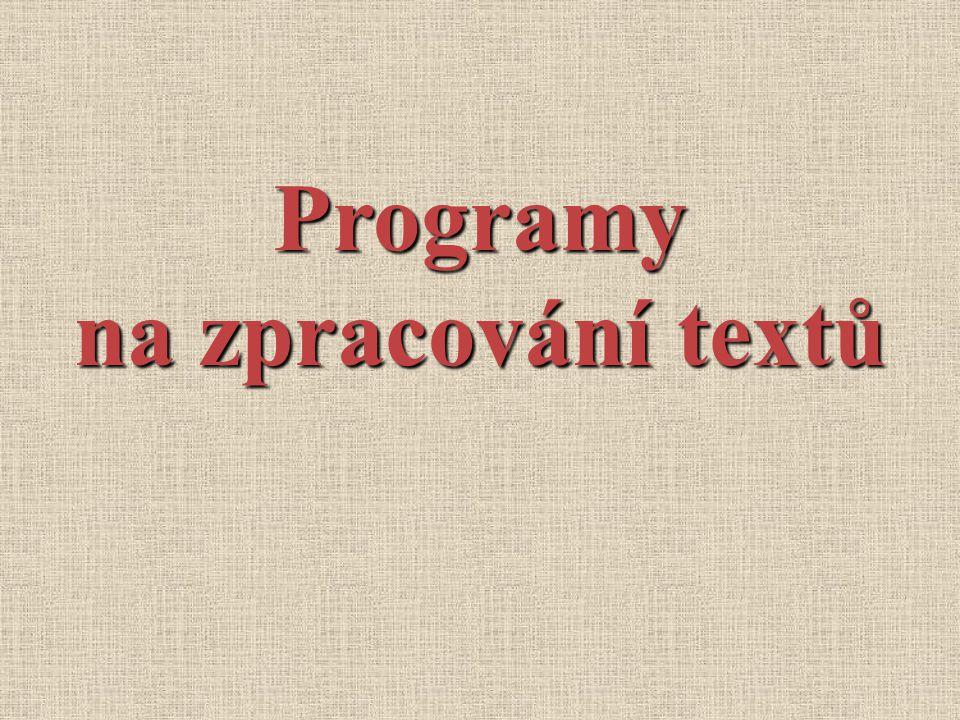 Programy na zpracování textů