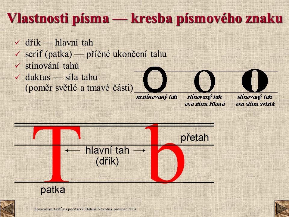 Zpracování textů na počítači 9, Helena Novotná, prosinec 2004 Vlastnosti písma — kresba písmového znaku dřík — hlavní tah serif (patka) — příčné ukonč