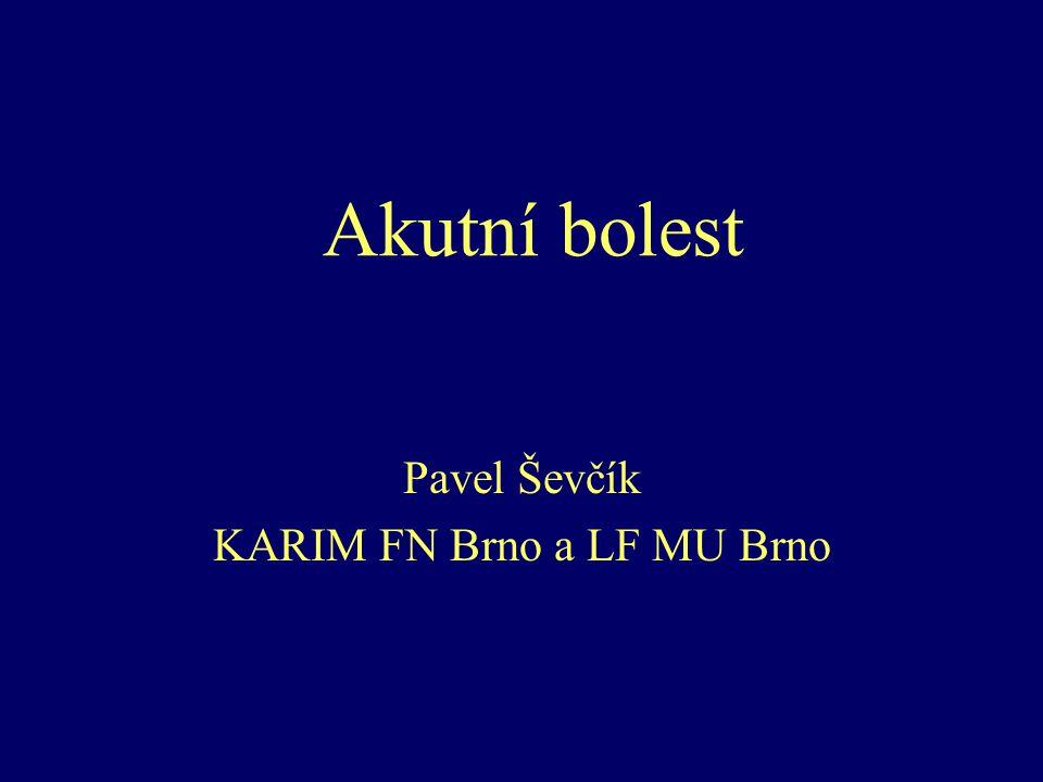Akutní bolest Pavel Ševčík KARIM FN Brno a LF MU Brno