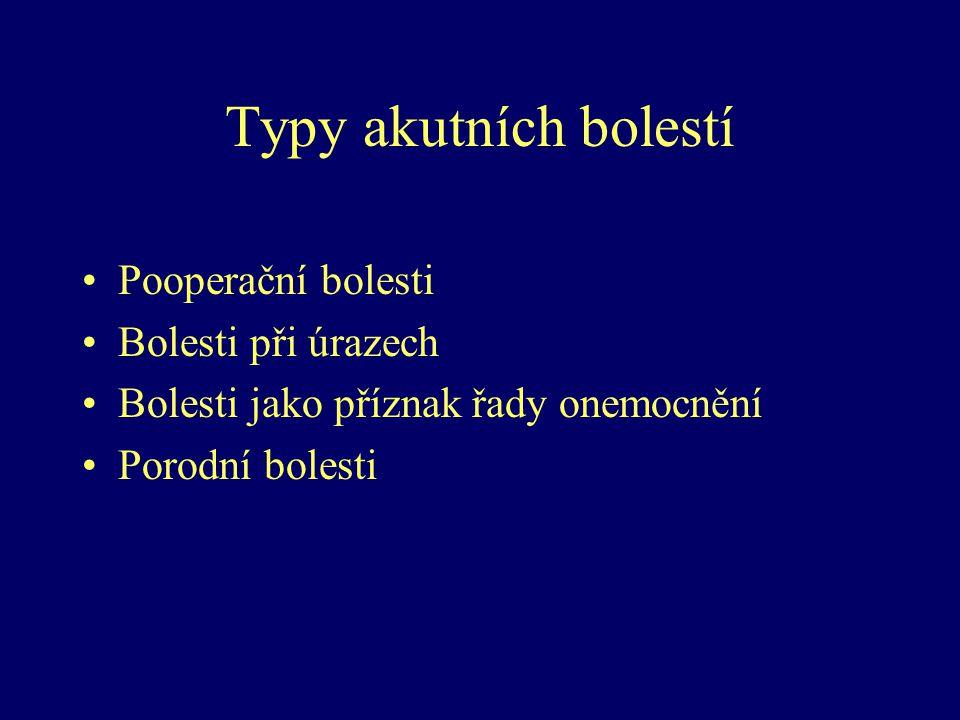Typy akutních bolestí Pooperační bolesti Bolesti při úrazech Bolesti jako příznak řady onemocnění Porodní bolesti