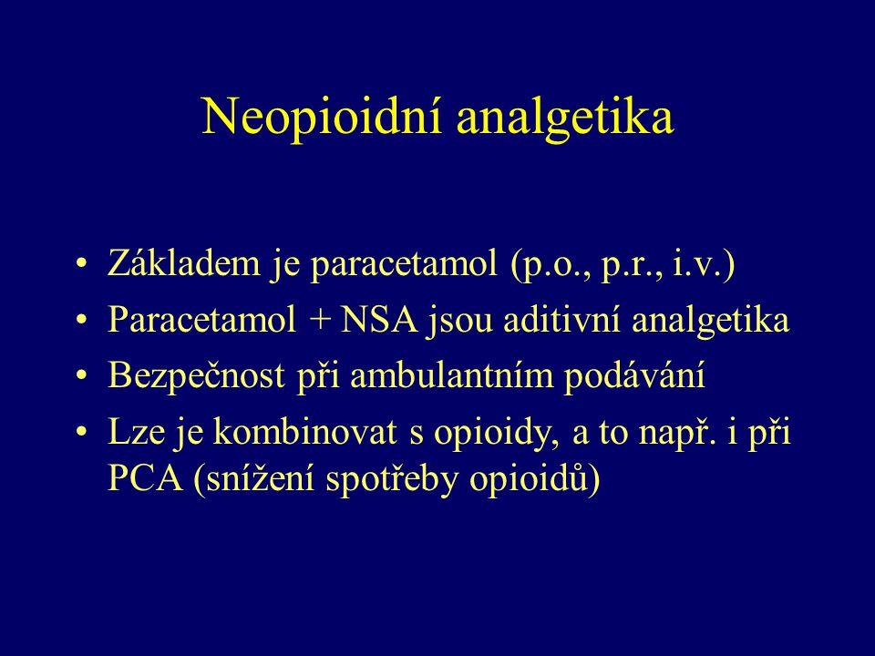 Neopioidní analgetika Základem je paracetamol (p.o., p.r., i.v.) Paracetamol + NSA jsou aditivní analgetika Bezpečnost při ambulantním podávání Lze je