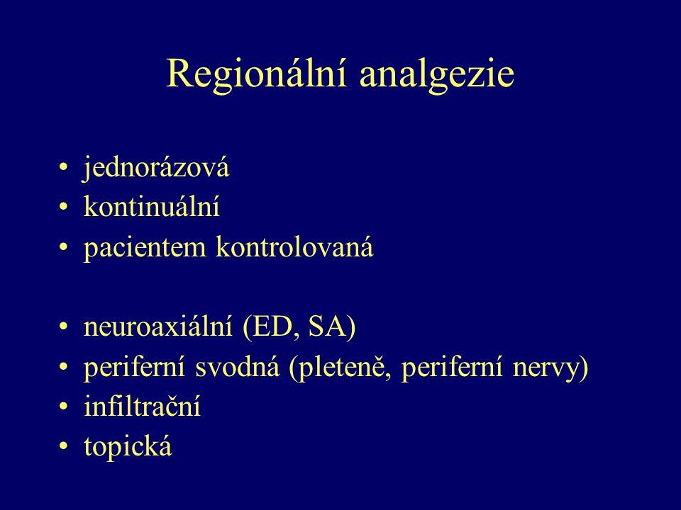 Regionální analgezie jednorázová kontinuální pacientem kontrolovaná neuroaxiální (ED, SA) periferní svodná (pleteně, periferní nervy) infiltrační topi